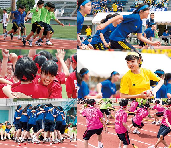 中学・高校合同で行われる体育祭